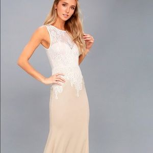 Lulu's Lover Lace White and Nude Lace Maxi Dress